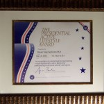 Presented by George Bush, recognising Grand Master Kimm for his work