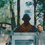 Photo by Ghandi's statue. North India, 1998