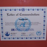 Peace Ambassador certificate, from the United Nations